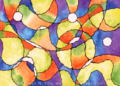 Carnival Balloons Abstract Watercolor Painting